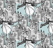 Dragon Kingdom Winter Toile blue by Sharon Turner