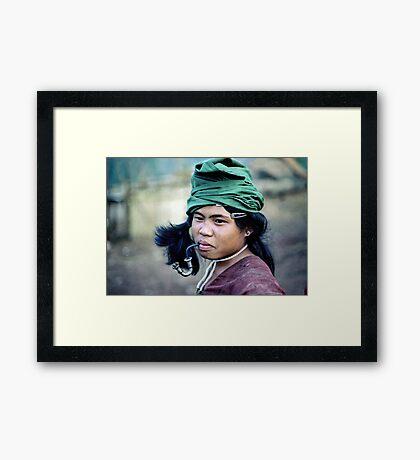 Karen boy with pipe Framed Print