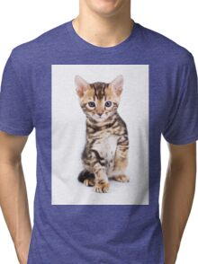 Cute striped ginger kitten Tri-blend T-Shirt