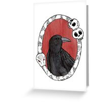 Crow in Vintage Frame Greeting Card