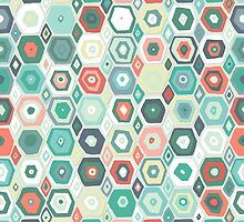 hex diamond coral mint by Sharon Turner