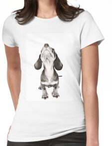 Funny dachshund with a big nose Womens Fitted T-Shirt