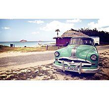 Cuban classic car by the beach Photographic Print