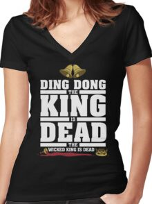 Ding Dong the King is Dead Women's Fitted V-Neck T-Shirt