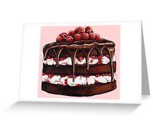 Chocolate Raspberry Cake Greeting Card