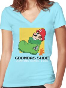 Super Mario - Goomba's Shoe Women's Fitted V-Neck T-Shirt