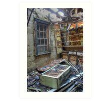 Abandoned and falling apart training school Art Print