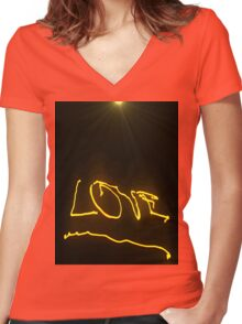 Flaming Love Women's Fitted V-Neck T-Shirt