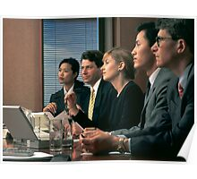 corporate executives at confernce table Poster
