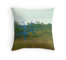 the blue tree Throw Pillow