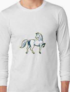 Horse Prancing Rear View Retro Long Sleeve T-Shirt