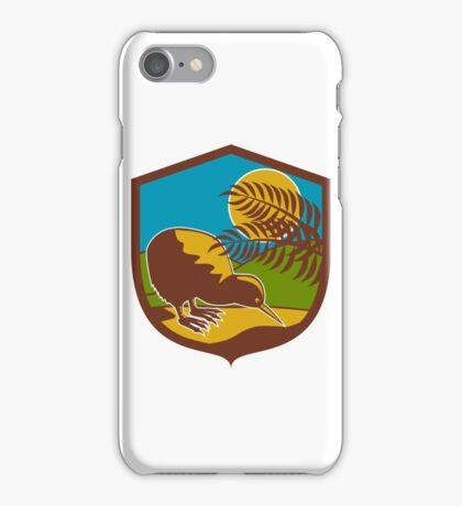 Kiwi Bird Moon Fern Mountain Shield Retro iPhone Case/Skin