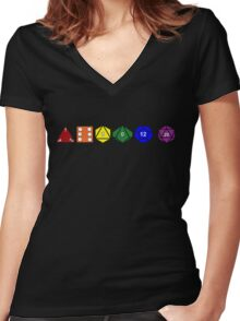 Gay Pride (Polyhedral Edition) Women's Fitted V-Neck T-Shirt