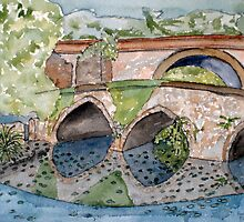 The French Watercolors:  Pont romain Du by Phyllis Dixon