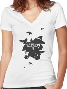 Dark Wings Dark Words Women's Fitted V-Neck T-Shirt