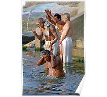 Ritual Bath in River Ganges, Varanasi, India  Poster