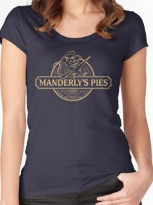 Manderly's Pies (in tan) Women's Fitted Scoop T-Shirt