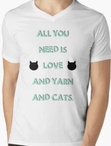 All You Need is Love & Yarn & Cats Mens V-Neck T-Shirt