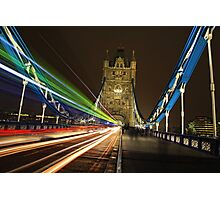 Light Trails on Tower Bridge, London Photographic Print