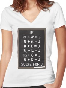 Westerosi Math 101 Women's Fitted V-Neck T-Shirt