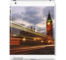 Zoom Zoom Zoom - Bus going past Westminster London at Night iPad Case/Skin