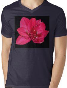 red blossom on black Mens V-Neck T-Shirt
