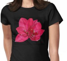 red blossom on black Womens Fitted T-Shirt