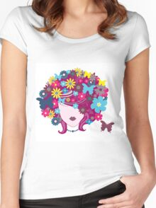 Floral Girl With Butterfly Women's Fitted Scoop T-Shirt