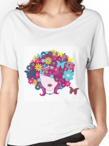 Floral Girl With Butterfly Women's Relaxed Fit T-Shirt
