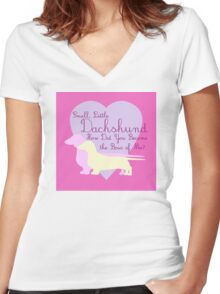 """""""Small, Little Dachshund How Did You Become the Boss of Me?"""" Doxie Weenie Dog Pink Purple Girly Girlie Silhouette  Women's Fitted V-Neck T-Shirt"""