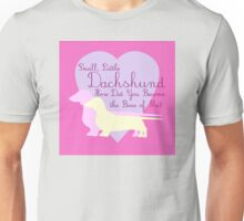"""""""Small, Little Dachshund How Did You Become the Boss of Me?"""" Doxie Weenie Dog Pink Purple Girly Girlie Silhouette  Unisex T-Shirt"""