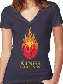 Fiery Lobster Claw Heart Sigil Women's Fitted V-Neck T-Shirt