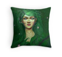Green Nature Fairy Throw Pillow