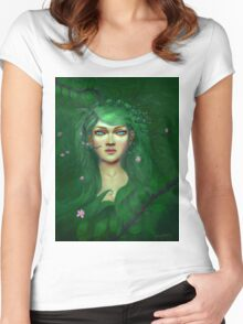 Green Nature Fairy Women's Fitted Scoop T-Shirt