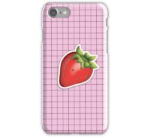 aesthetic strawberry emoji on grid tumblr iPhone Case/Skin