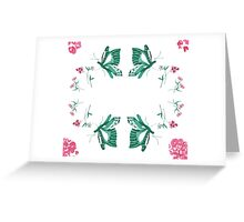 Butterflies and Pink Flowers Greeting Card