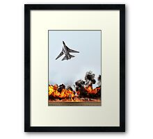 F111 with Fire, Adelaide Air Show  Framed Print