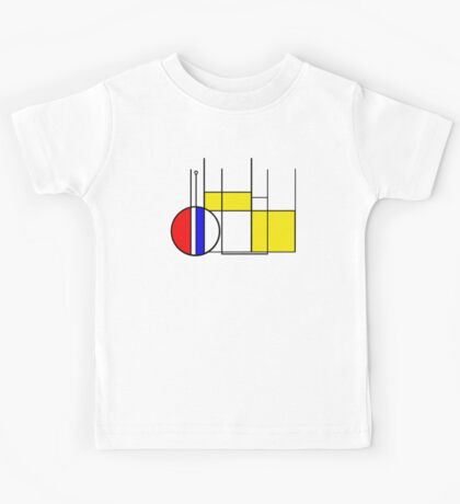 Modern Lines and Colors - Red Blue Yellow Black White Geometric Kids Tee