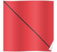 Modern Minimalistic Black Stripe on Coral Red Poster