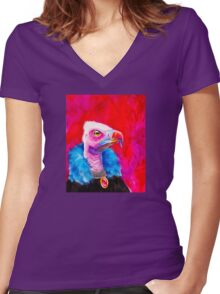 Victorian Vulture Women's Fitted V-Neck T-Shirt