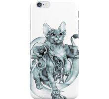 RISHAMA steampunk tattoo cat kitten biomechanics mechanics vintage iPhone Case/Skin