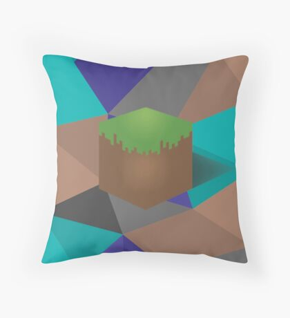 minecraft polygon Throw Pillow