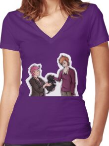 Tonks, Remus, Puppy Women's Fitted V-Neck T-Shirt