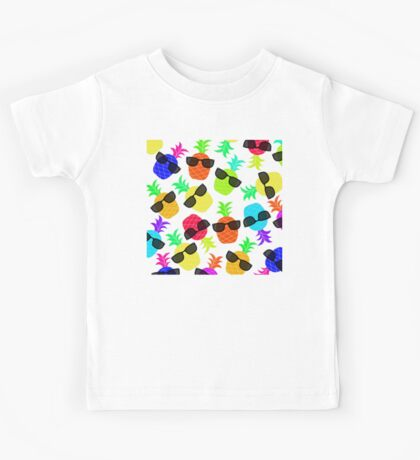 """""""Seriously Cool Ananas"""" - Ananas Fruit Tropical Hot Pink Neon Fuchsia Fluorescent Orange Green Teal Purple Ultraviolet Yellow Sunglasses Lime Cool Super Fantastic Silly Cute Funny Humor   Kids Tee"""