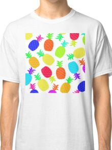 """Funky Fun"" - Ananas Fruit Tropical Hot Pink Neon Fuchsia Fluorescent Orange Green Teal Purple Ultraviolet Yellow Lime Cool Super Fantastic Silly Cute Funny Orange Blue Green Classic T-Shirt"