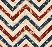 Vintage Patriotic Chevron Pattern  by ArtVixen