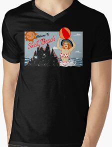 Dark City Shell Beach Mens V-Neck T-Shirt