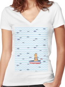 Salty sailor cat. Women's Fitted V-Neck T-Shirt