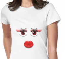 Red Eyes With Lips Womens Fitted T-Shirt