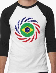 Brazilian American Multinational Patriot Flag Series Men's Baseball ¾ T-Shirt